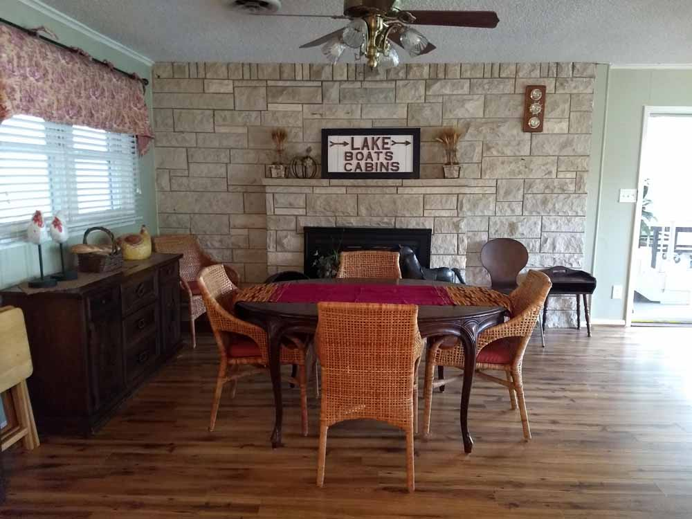 Lake Whitney, Texas vacation home rental | Lake Whitney Log Cabin rock fire pit